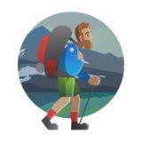 Hiker идя через поле Trekking, пеший туризм, взбираясь, tra Стоковые Изображения RF