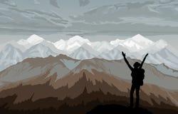 Hiker наслаждаясь ландшафтом с горами иллюстрация штока
