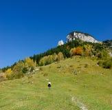 Hiker на горах Стоковые Фото