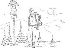 Hiker на отключении бесплатная иллюстрация