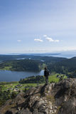 Hiker на Mt. Erie Стоковые Изображения RF
