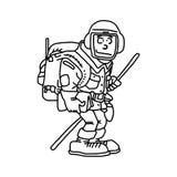 Hiker при линии черноты иллюстрации вектора рюкзака, изолированные дальше иллюстрация вектора