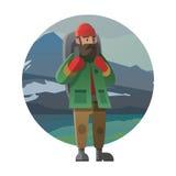 Hiker с рюкзаком внешним в одичалом Trekking, подъем Стоковые Фотографии RF