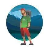 Hiker с рюкзаком внешним в одичалом Trekking, подъем Стоковое фото RF