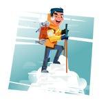 Hiker с рюкзаком na górze горы снега hiking принципиальная схема успешная бесплатная иллюстрация