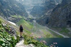 Hiker утесистой горы Стоковые Изображения RF