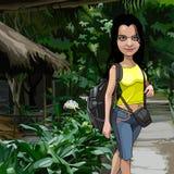 Hiker шаржа женский с рюкзаком в тропиках иллюстрация вектора