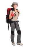 женщина изолированная hiker Стоковые Фотографии RF