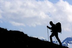 Hiker. Lonely hiker view with cloudy sky Royalty Free Stock Photography