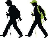 силуэт hiker Стоковое Изображение RF
