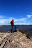 Hiker admiring mountain views Royalty Free Stock Photos