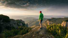 Hiker admiring the sunrise Stock Images