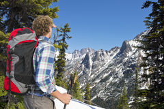 Hiker admiring the view Stock Photography
