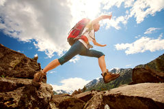 Hiker in Altai mountains Royalty Free Stock Image