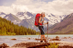 Hiker in Altai mountains Stock Photography