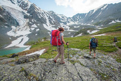 Hiker in Altai mountains Stock Photos
