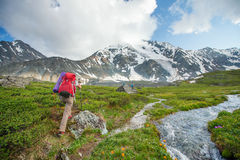 Hiker in Altai mountains, Russian Federation Stock Photos
