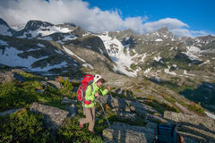 Hiker in Altai mountains Stock Images