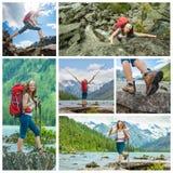 Hiker in Altai mountains Stock Photos