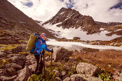 Hiker in Altai mountains Royalty Free Stock Photo