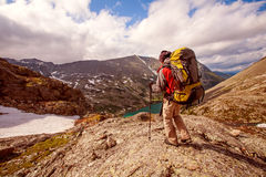 Hiker in Altai mountains Stock Image