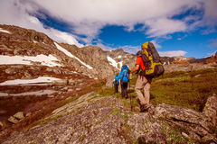 Hiker in Altai mountains Royalty Free Stock Photos