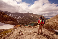Hiker in Altai mountains Royalty Free Stock Photography