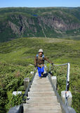 Hiker Ascending Stairs on Gros Morne Mountain Stock Image