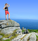 Hiker on the Atlantic coast Stock Images