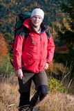 Hiker in autumn Stock Image