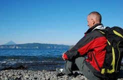 Hiker on the Avacha Bay Stock Images