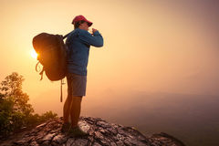 Hiker with backpack royalty free stock photos