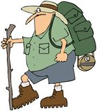 Hiker with a backpack. This illustration depicts a man hiking with a backpack and walking stick Stock Photos