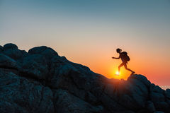 Hiker with backpack Stock Photography