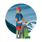 Hiker with backpack lost in the wild. Trekking, hiking, climbing. Vector illustration on the theme of hiking, backpacking, climbing, traveling, trekking, walking Stock Image