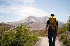 Hiker with Backpack at Mount Saint Helens Royalty Free Stock Photos