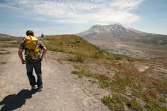 Hiker with Backpack at Mount Saint Helens Stock Photos