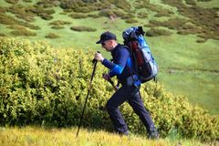 Hiker with backpack in mountains Royalty Free Stock Photography
