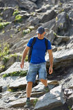 Hiker with backpack in mountains Royalty Free Stock Image