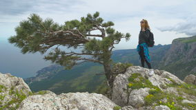 Hiker with backpack standing on top of the mountain and enjoying valley view. Girl in a leather jacket and black jeans, standing on the edge of the cliff in stock video footage