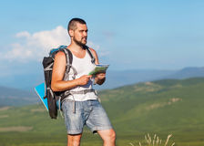 Hiker with backpack Stock Image