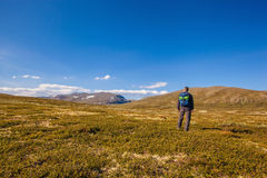 Hiker with backpack traveling in Norway mountains Dovrefjell Royalty Free Stock Image
