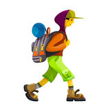 Hiker with backpack walking clipart. Young man hiker with rucksack walking.  clip art vector illustration Royalty Free Stock Photography