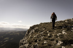 Hiker with backpack Royalty Free Stock Photography