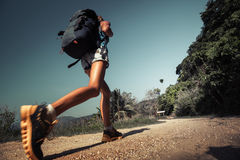 Hiker with backpack royalty free stock photo
