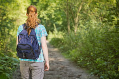 Hiker with a Backpack Royalty Free Stock Image