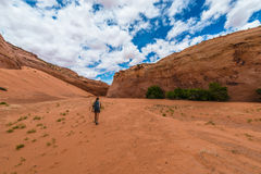 Hiker Backpacker Brimstone Gulch Dry Fork Narrows of Coyote Royalty Free Stock Images