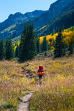 Hiker Backpacker Colorado Fall foliage Colors Royalty Free Stock Images