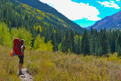 Hiker Backpacker Colorado Fall Royalty Free Stock Images