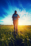 Hiker with backpacks walking through a meadow Royalty Free Stock Photos